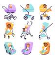 baby strollers cute multiethnic children vector image vector image