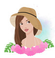 beautiful woman wear sun hat portrait with pink vector image vector image