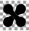 black dumbbell on transparent vector image vector image