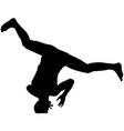 black silhouettes breakdancer on a white vector image vector image