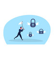 businessman holding butterfly net catch padlock vector image vector image