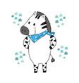 cartoon cute zebra vector image vector image