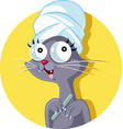 cat grooming salon logo mascot vector image vector image