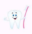cheerful cartoon tooth holding a toothbrush vector image