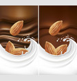 chocolate background with milk splash and almond vector image vector image