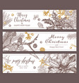 christmas holiday floral horizontal banners vector image