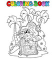 coloring book with pirate topic 1 vector image vector image