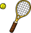doodle tennis racket and ball vector image vector image