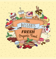 doodle vintage desserts frame cakes ice cream vector image vector image