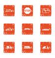 freeway icons set grunge style vector image