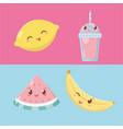 fresh fruits and sorbets kawaii characters vector image