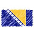 hand drawn national flag of bosnia and herzegovina vector image