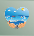 hand holding heart shape with ocean wave paper vector image