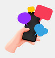 hand holding phone with short messages chatting vector image