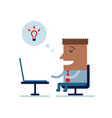 happy businessman working on laptop vector image
