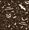 happy halloween monochrome seamless pattern vector image vector image
