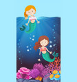 happy mermaid in the ocean vector image
