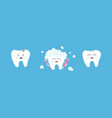healthy smiling tooth icon set crying bad ill vector image