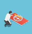isometric businessman trying to get golden key vector image