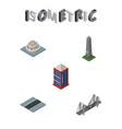isometric city set of phone box dc memorial vector image vector image