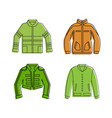 jacket icon set color outline style vector image vector image