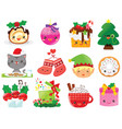 kawaii christmas cartoons vector image