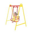 little girl on swing isolated vector image vector image
