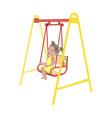 little girl on swing isolated vector image