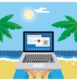 Man on the beach with laptop vector image