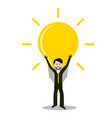 man with bulb idea and success symbol invention vector image vector image