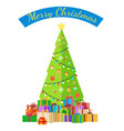 merry christmas poster with decorated tree by vector image