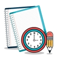 notebook and pencil isolated icon design vector image
