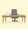 office working place with table vector image vector image