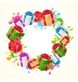 Present Boxes Frame Circle vector image