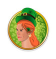 pretty red-haired girl in a green leprechaun hat vector image vector image