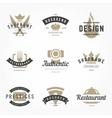 Retro Hand Drawn Logos Templates Set Hand vector image vector image