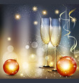 romantic christmas background with two glasses vector image vector image