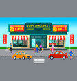 sale in market people buy products and appliances vector image