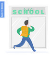 school boy running with backback to school vector image vector image
