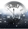 shiny 2019 new year background with clock vector image vector image