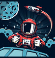 space poster in vintage style vector image vector image