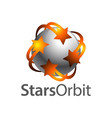 stars orbit on grey sphere inside logo concept vector image vector image