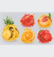 strawberry pineapple orange watermelon peach vector image