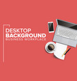 top view office workplace background vector image