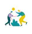 two plump guys giving five to each other male vector image vector image
