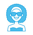 young fashion woman with sunglasses cartoon vector image