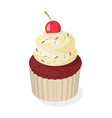 Isometric style 3d of cupcake with cherry vector image