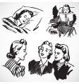 retro women at home vector image