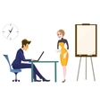 Boss and secretary in the office of the head She vector image