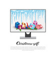 computer display with holiday decorations vector image